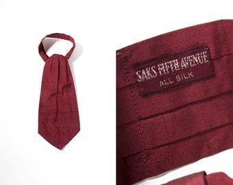 1950s Saks Fifth Avenue Burgundy Silk Shantung Ascot