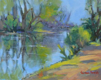 """Original oil landscape painting, River painting , water, trail, New England, 9"""" X 12"""""""