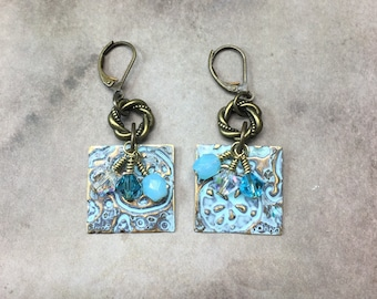 Light Blue Ocean Reef earrings Sizzix Vintaj Czech glass beads Nautical Embossed Earrings gift ideas for her