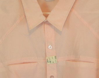 1960's Men's Shirt by Da VInci California Pink Short Sleeve Button Front sz 3 X Dead Stock Mad Men Rockabilly Charlie Sheen new with tags.