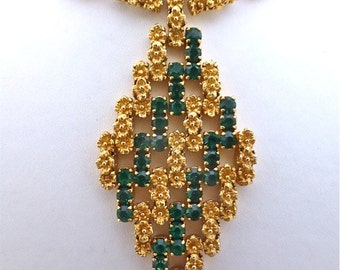 """Green & """"Gold"""" Diamond Shaped Necklace"""