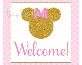 Minnie Mouse Welcome Sign, Pink and Gold, Glitter, Door Sign, INSTANT DOWNLOAD