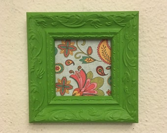 Clearance***Frame Square  Upcycled Handpainted Green , 3x3 Photo Frame