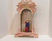 Vintage Alter, Madonna, Beautifully Detailed,  Shadow Box, Shrine, Spiritual Art, Devotional, Catholic