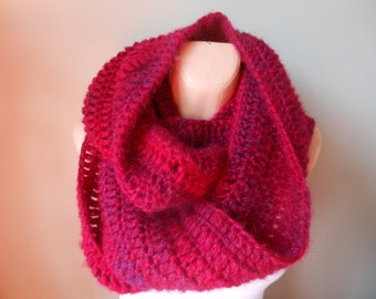 Crocheted Infinity Scarf Cowl Neck Warmer Shawl Maroon