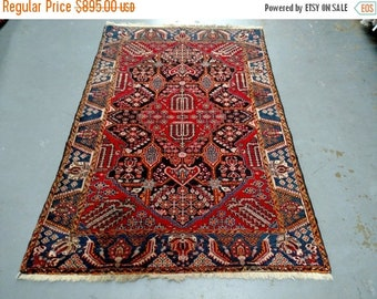 SPRING SALE Persian Rug - 1950s Hand-Knotted Vintage Hamadan Area Rug (2829)