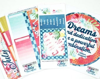 """July NOTES PAGE 2017 planner stickers kit, July """"Dreams and Dedication"""" kit, fits Erin Condren 2016-17 Life Planner Notes Pages, July"""