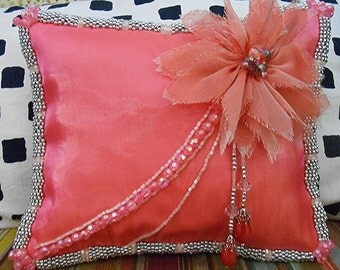 """CORAL-PINK BEADED Accent Pillow with Chiffon Flower & Beaded Tassels, 8"""" x 7"""", Mirror-Organza, Price Includes Shipping"""