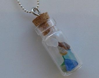 Sea Glass Bottle Necklace