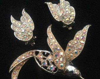 Vtg 60s Sara Cov Signed AB Crystal Hummingbird Set