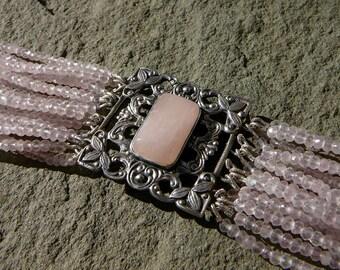 Rose Quartz Bracelet, Pink Bracelet, Multistrand Bracelet, Multi Strand Bracelet, Repurposed Jewelry, Rose Quartz Jewelry, Pink Jewelry