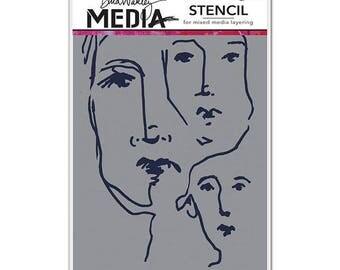 Ranger - Dina Wakley Media - Stencils - Scribbled Faces
