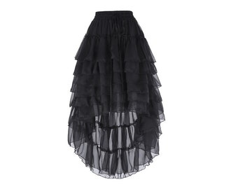BLACK Victorian Steampunk Gothic Skirt//High Low A-Line Skirt//Ruffled Chiffon Long Skirt//One Size
