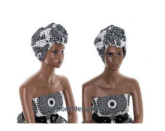 Turban headwrap/ Head wrap Scarf / Headwrap / black and white fabric /Head wrap Women/African headdress / African Head wraps/ HT154