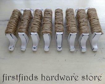 9 Rope Handles Drawer Pulls Shabby Chic White Nautical Beach Cottage Cabinet Door Square Seaside Furniture Knobs 3inch ITEM DETAILS BELOW