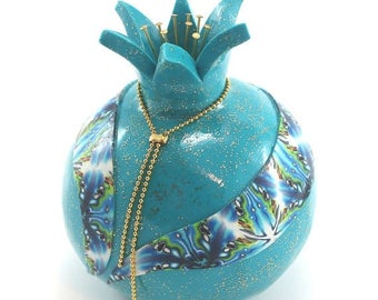 SPRING SALE Home decor pomegranate, prosperity symbol, Polymer clay turquoise Pomegranate, one pomegranate with blue decoration, Rosh hashan