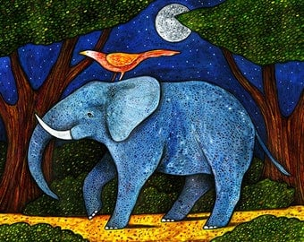 Forest Elephant at Night Card - Elephant Card - Forest Card - Jungle Card - A7 Greeting Card
