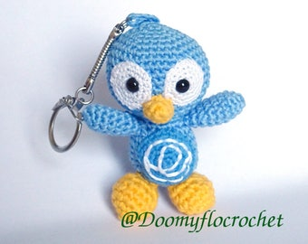 Keychain   blue Linux Elementary OS penguin  crocheted cotton made ; Amigurumi Tux Distribution Linux OS