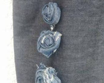Denim bag with fabric roses shabby chic large tote bag