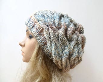 Cabled Slouchy Beanie Hat - Women Slouch Hat - Hand Knitted Grey Blue Cream Peach Braided Beanie - Aran Cabled Slouchy Hat - Clickclackknits