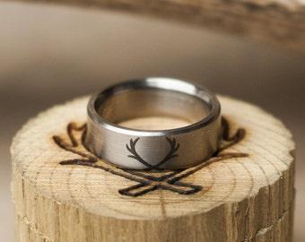 Custom Etched Wedding Band - Staghead Designs