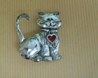 Silvertone Cat Pin with Dangling Red Heart