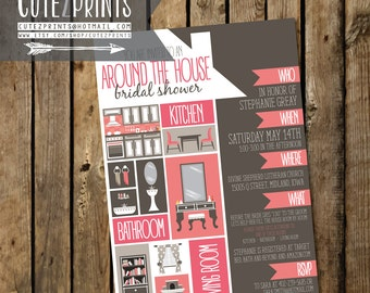 Around the House Bridal Shower Invitation and Game Package
