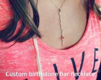 Custom Birthstone Bar Necklace / 14k Gold or Sterling Silver Vertical Bar Necklace / Wavy Bar Necklace /New Mom Push Gift / Mothers Jewelry