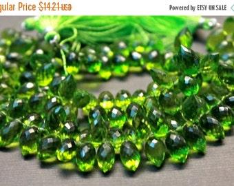 Sale AAA Peridot green quartz gemstone briolette- faceted peridot green quartz dew drop briolette- set of 10 PCs- 11.5-13 mm No.678