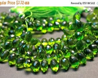 Sale AAA Peridot green quartz gemstone briolette- faceted peridot green quartz dew drop briolette- set of 6 PCs- 11.5-13 mm No.436