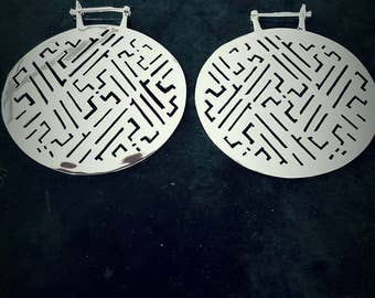 Tekunai Silver plated hoop - Large silver hoop - Tribal hoop - Stretched hoop