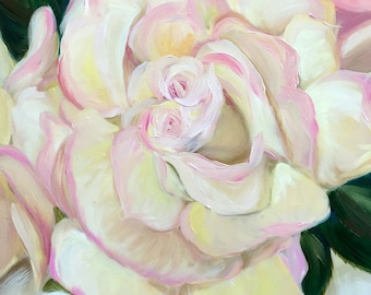 CANVAS or Paper PRINT of original oil painting of yellow and pink rose flower spring floral art/ Mary Sparrow of Hanging the Moon Studio