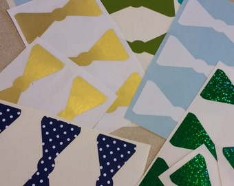 Ready Ship SALE 28 3inch Bowtie Stickers, Envelope Seals, Party Favors, Party Glasses, Unlimited Possibilities