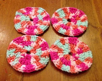 Multi-Color Crochet Cup Coasters
