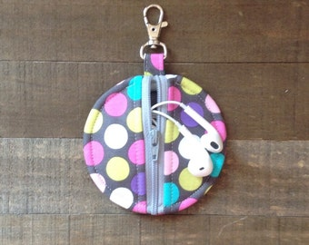 Diddly Dot Circle Zip Earbud Pouch / Coin Purse / Pink, Lime Green, Purple, White, Turquoise Polka Dots on Gray