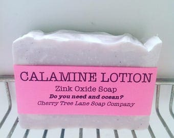 Natural CALAMINE LOTION Soap, Zinc Oxide Soap, Facial Cleansing Bar,  Sensitive Skin Soap, Handmade Soap, Calamine Soap, Soap