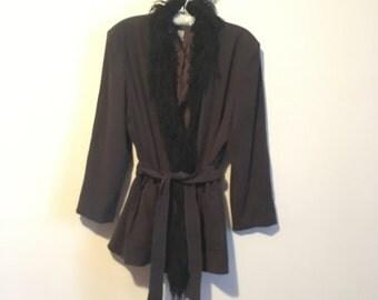 90s fur collar slouchy coat, short trench coat, medium large - vintage -