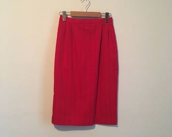 80s red pinstripe pencil skirt, high-waisted skirt, XS xmall - vintage -