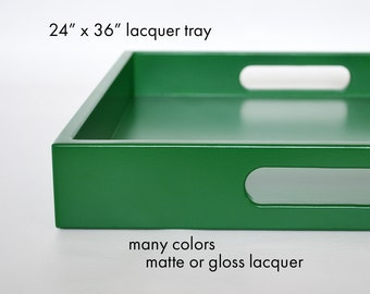 24 x 36 Extra Large Ottoman Tray with Handles,  Coffee Table Decor, Choose Your Lacquer Color and Finish