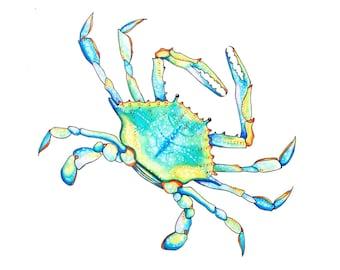 Blue Crab Watercolor Greeting Card