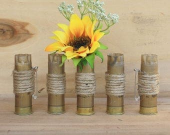 Set of 5 Shotgun Shell Boutonnieres, Rustic Wedding Accessories, Camouflage Wedding Idea, Country Wedding Boutonniere, The Hunt is Over
