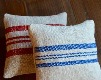 Grain Sack Red and Blue Stripe Lavender Sachets