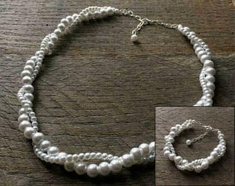 White Pearl Necklace Bracelet Bridal Set Bridesmaid Set Pearl Twisted Clusters on Silver or Gold Chain