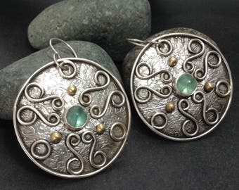 Blue green apatite earrings, large round sterling sterling silver disks, original metalwork, Celtic shield jewelry