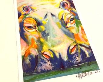 Hippo print 5x7