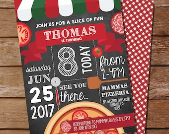 Pizza Party Invitation - Pizza Birthday Party - Chalkboard Invitation - Instant Download and Edit File at home with Adobe Reader