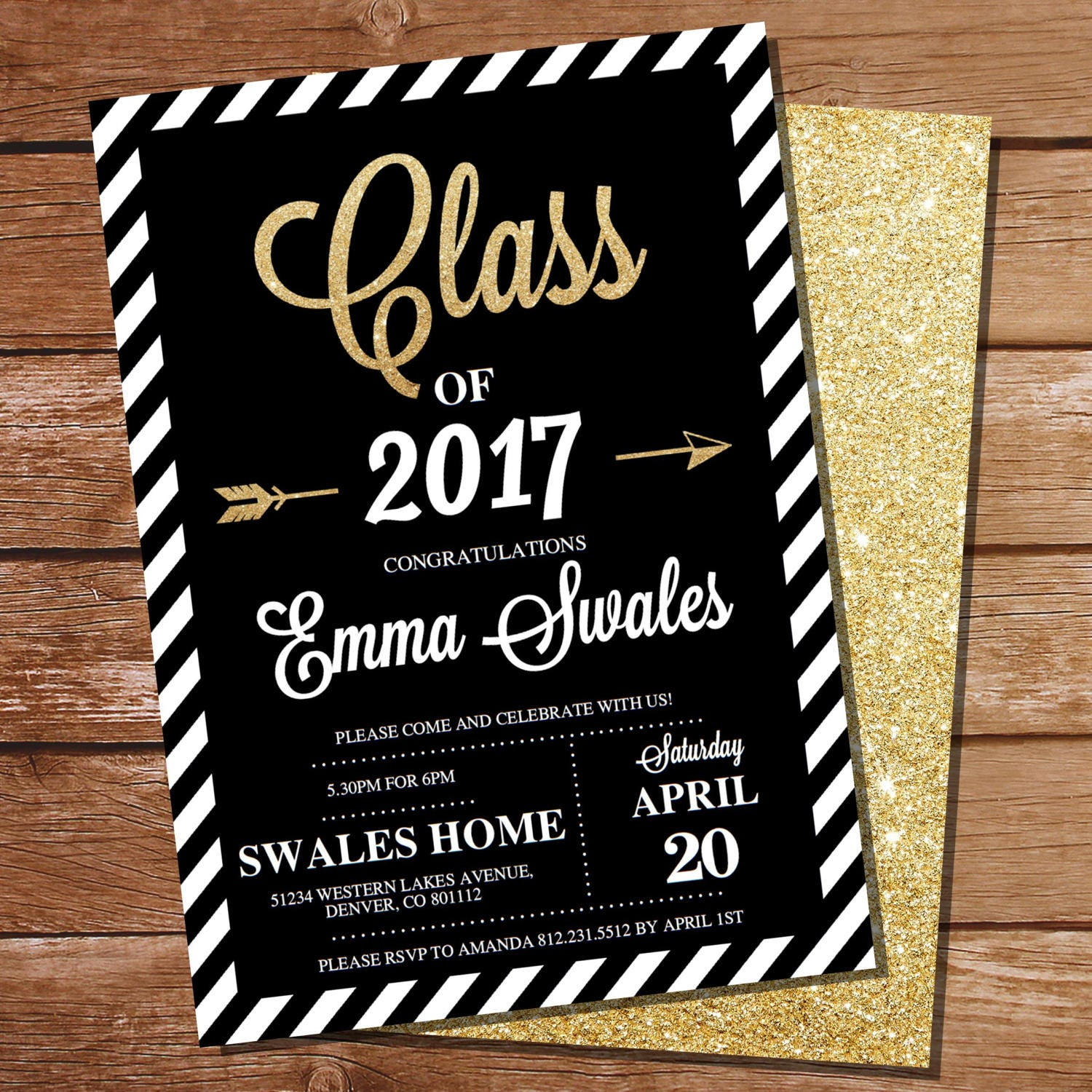Graduation invitation – Black and Gold Graduation Invitations