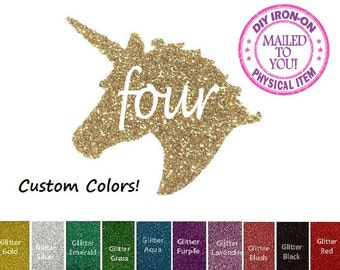 Diy UNICORN FOUR BIRTHDAY, Iron On, Vinyl Applique Decal, 4, Fourth, 4th, Shirt, Tank, Party Favor, Girl, Child, Kids, Pony, Patch, Transfer