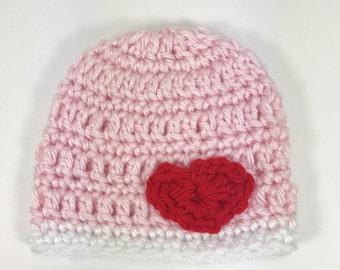 baby hat, crochet baby hat, premie hat, crochet premie hat, pink hat, hat with hearts