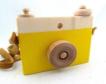 FREE SHIPPING Yellow wooden camera toy - yellow wood camera - wood toy camera -